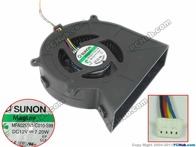 For SUNON MFA0251V1-C010-S99 DC 12V 7.20W 4 wire 4-pin connector Server Blower fan maxima mbq 0251