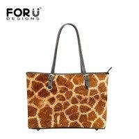 FORUDESIGNS Animal Giraffe Printed Women Top Handle Bag Fashion Casual Totes Bags Ladies Zebra Pattern Beach