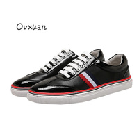 Ovxuan 3 Colors Striped Design Genuine Leather Loafers Men Fashion Party and Prom Men Dress Shoes Street Flat Sneakers Men Shoes