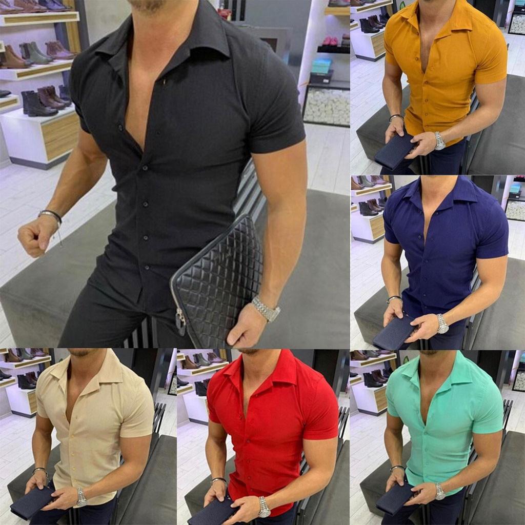 2019 Men Fashion Casual Short Shirts Men Pure Color Button  Splicing Pattern Casual  Lapel  Short Sleeve Shirt More Colors Sales