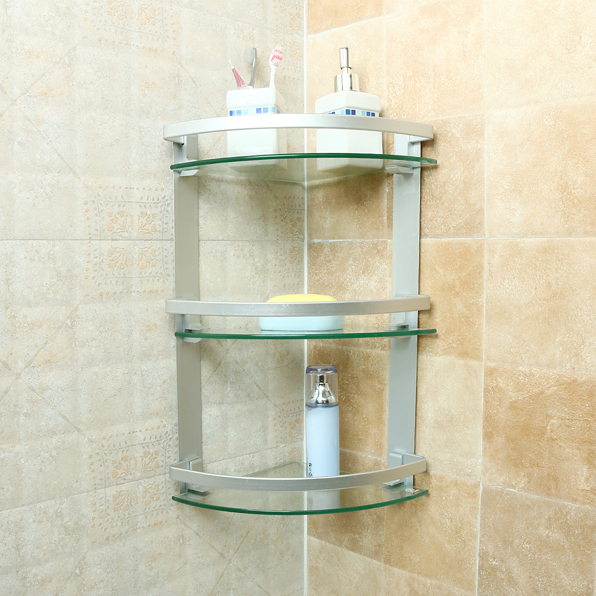 3 tier glass bathroom shower caddy corner shelf organizer - Bathroom glass corner shelves shower ...