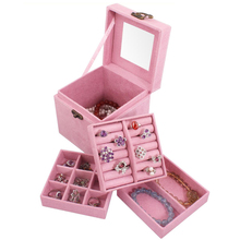 5 Colors Fashion Vintage Style Three-tier Jewelry Box Multideck Storage Cases(China)