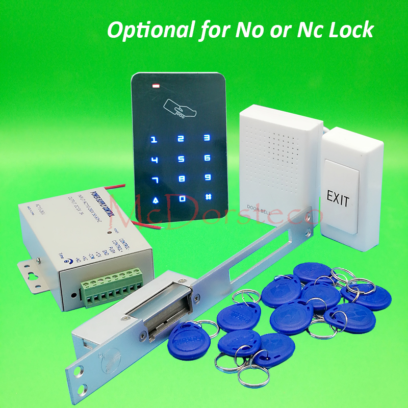 Full Rfid Access Control System Kit + long type Electric Strike Lock + Power Supply 125khz Keypad Door Lock System full complete rfid door access control system kit digital keypad with electric strike lock power supply 10pcs id key chains
