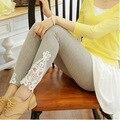 Leggins de verão das mulheres Do Laço Da Flor Impressão calças Capris Legging Stretch leggings de algodão Doce cor de Crochê