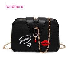 Fondhere Frauen Umhängetasche Mode Leder Handtasche Damen Umhängetasche Berühmten Lippenstift Roten lippen Design Umhängetaschen