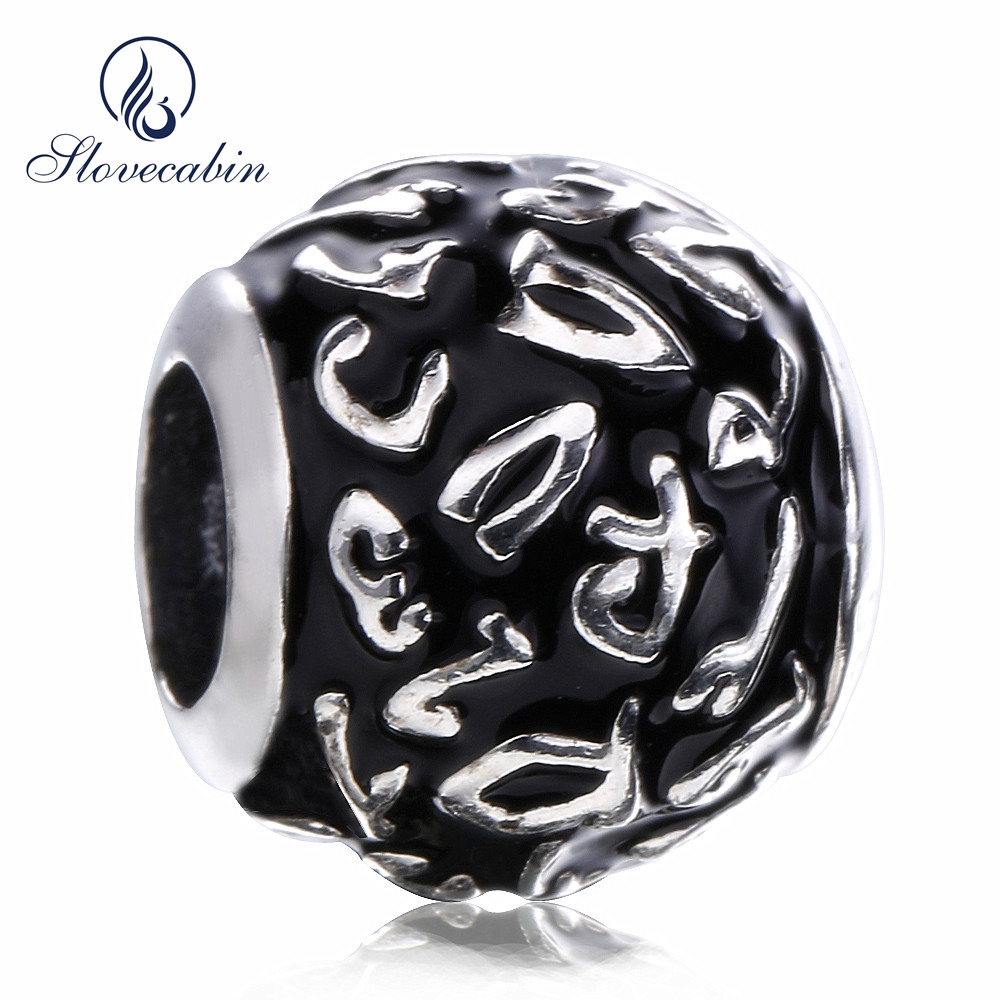 Slovecabin 2017 Black Friday Popular Pure 100% 925 Sterling Silver Black Enamel Charms Beads Fits For Snake Bracelet DIY Jewelry