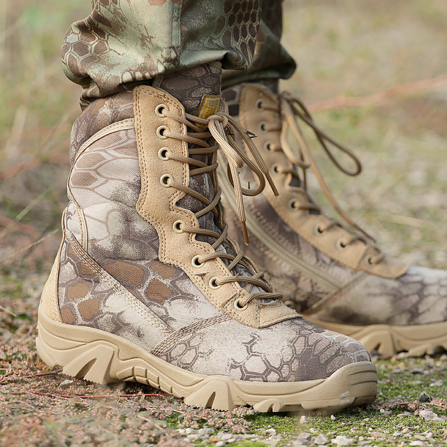 ทหารยุทธวิธีผู้ชายฤดูหนาวรถจักรยานยนต์สีเหลือง Python Combat Army รองเท้าสำหรับชาย Botas Desert ความปลอดภัยรองเท้าทำงานสีดำ