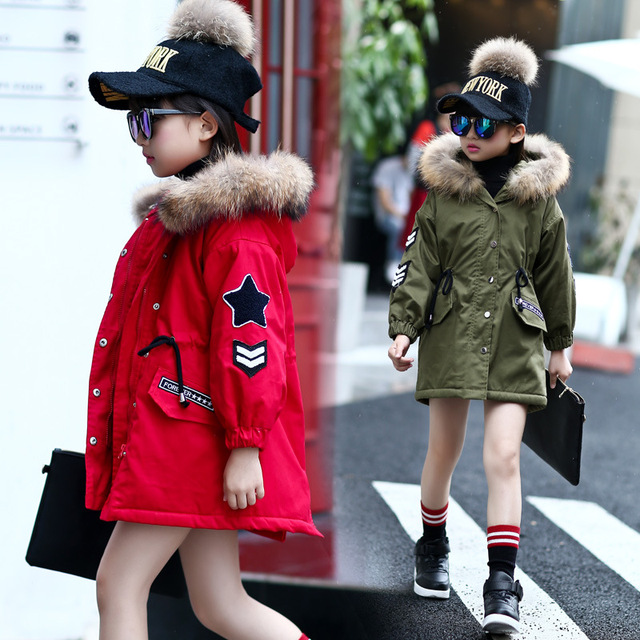 New girl children winter coat thick jacket real fur collar 5-13 years old cotton coat