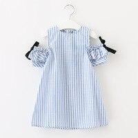 2017 Cotton Big Toddler Girls Dress Summer Striped Princess Off The Shoulder Kids Fashion Shortsleeve Dress