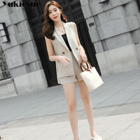 2019 summer fashion two piece suits women sleeveless blazer two piece set women's suit shorts pants OL office woman together