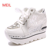 Women Shoes 2018 Summmer Rhinestone Woman Platform Wedges Shoes Woman  Lace-Up 10 Cm High 22b9afc986eb