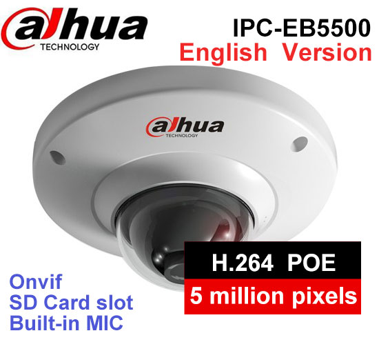 Dahua English version IPC EB5500 5MP WDR Panorama 185 Degree built in MIC with SD card