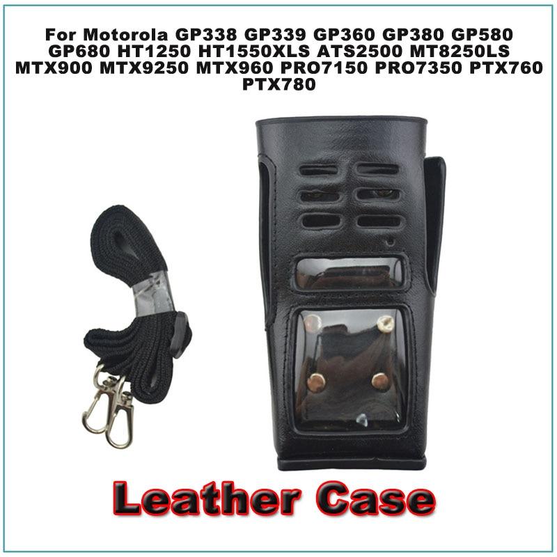 Leather Carry Case With Belt Loop For Motorola Keypad Models Portable Two-way Radio GP338 HT1250 GP339 GP360 GP380 PTX780 MTX960
