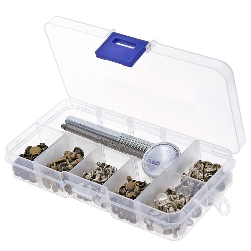 120 مجموعة فضة برونز المسامير أنبوبي معدن واحد مع تحديد أداة كيت ل أحزمة جاكيتات جلدية كرافت إصلاح أداة زخرفة