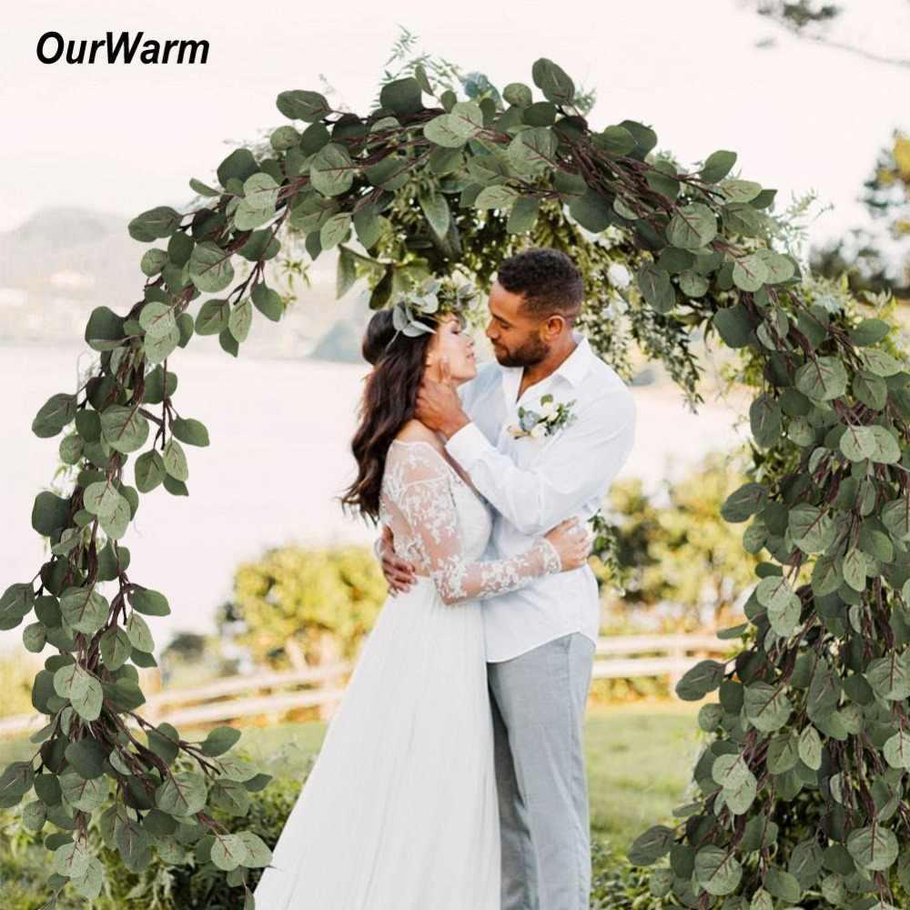 OurWarm 6 قطعة الاصطناعي النباتات الأوكالبتوس يترك البلاستيك الزهور المنزلية مخزن دست ريفي المنزل الديكور الزفاف حلية