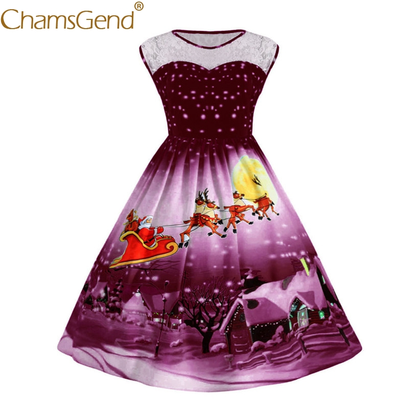 Chamsgend Vestido Newly Design Women Round Neck Lace Sleeveless Christmas Night Print Fa ...