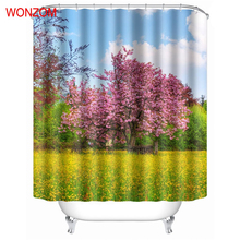 WONZOM Grassland Modern Polyester Flower Tree Waterproof Shower Curtains For Bathroom Fabric Sky Bath Curtain With Hooks Gift