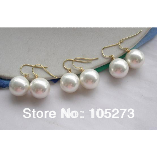 New Arriver Shell Pearls Jewelry Wholesale 3 Pairs 16mm Round White Color South Sea Shell Pearls Dangle Earrings 925 Silver Hook