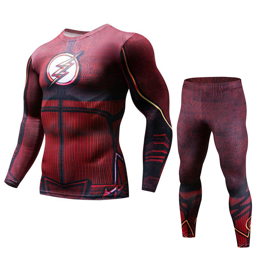 Red Flash Running Set Men New Compression Mens Sport Suits Quick Dry Running sets Joggers Training Suit Gym TracksuitsRed Flash Running Set Men New Compression Mens Sport Suits Quick Dry Running sets Joggers Training Suit Gym Tracksuits