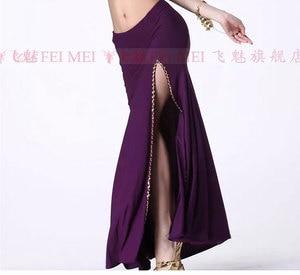 Image 5 - Hot Sale Belly Dance Clothes Sexy Dance Skirt Crystal Cotton Belly Dancing Skirt Sexy Sequins Split Skirt Girls Dance Skirt