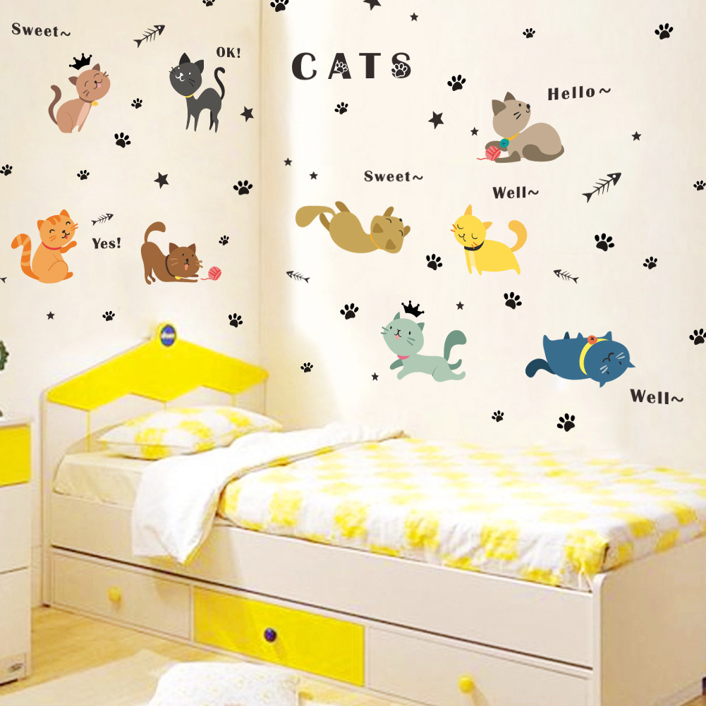 New Cartoon Cat Wall Stickers For Kids Room Children Room Home Decor ...