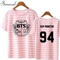 Simenual athleisure BTS 2017 kpop camiseta listrada carta impressão harajuku verão top tee camisetas emparelhados plus size casal roupas