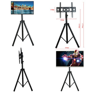Image 5 - Height Adjustable TV Floor Tripod Stand 15kg Tilt Swivel LCD Monitor Portable Tripod Mount Mobile TV Lift Holder VESA 400x400mm