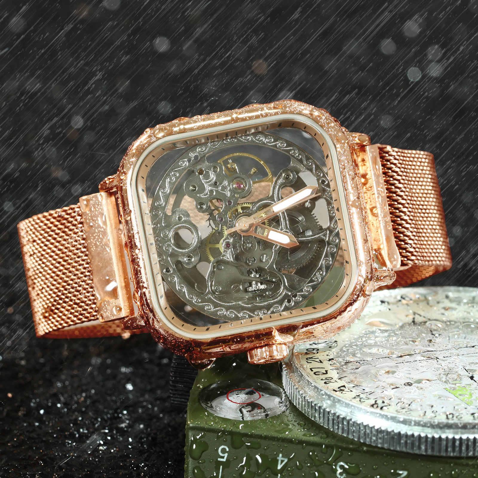 Reloj Automático oficial ganador, reloj mecánico esqueleto para hombres y mujeres, reloj de pulsera cuadrado Punk de lujo con correa magnética
