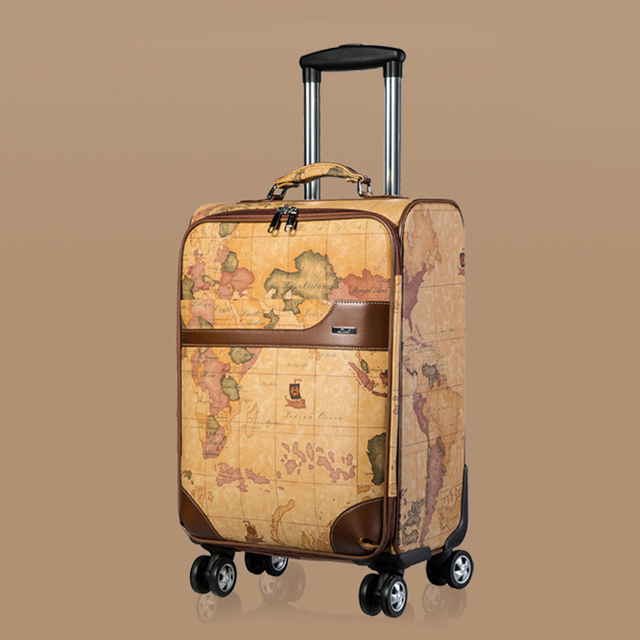 "Wholesale!20"" 24""retro pu leather world map travel luggage bags on universal wheels,male and female vintage trolley luggage box"