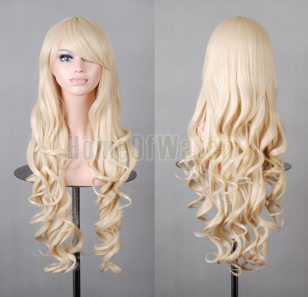 32 Inches Long  Light Blonde Cosplay Wigs Ladies' Curly Wigs 80cm (NWG0CP60817-GN2)