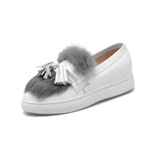 All hair fringed leather shoes casual shoes Kevin summer flats woman casual shoes Round Toe