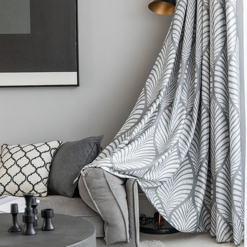 Modern Grey Geometric Blackout Curtains For Living Room Printed Drapes For Bedroom Window Treatments Single Panel Insulation