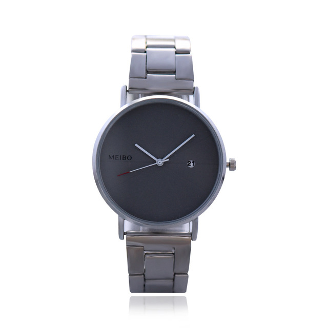 Unisex Simple Scale Stainless Steel Band Wrist Watch Fashion Calendar Men and Wo