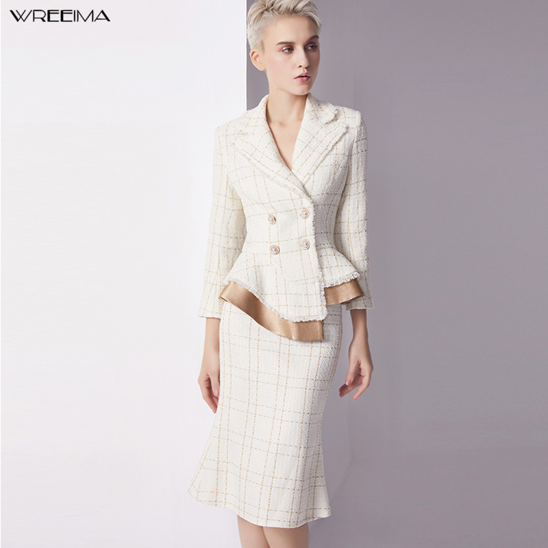 wreeima fashion skirt suits plaid temperament suit Double Breasted Irregular Blazer+mermaid skirt OL women skirt suits