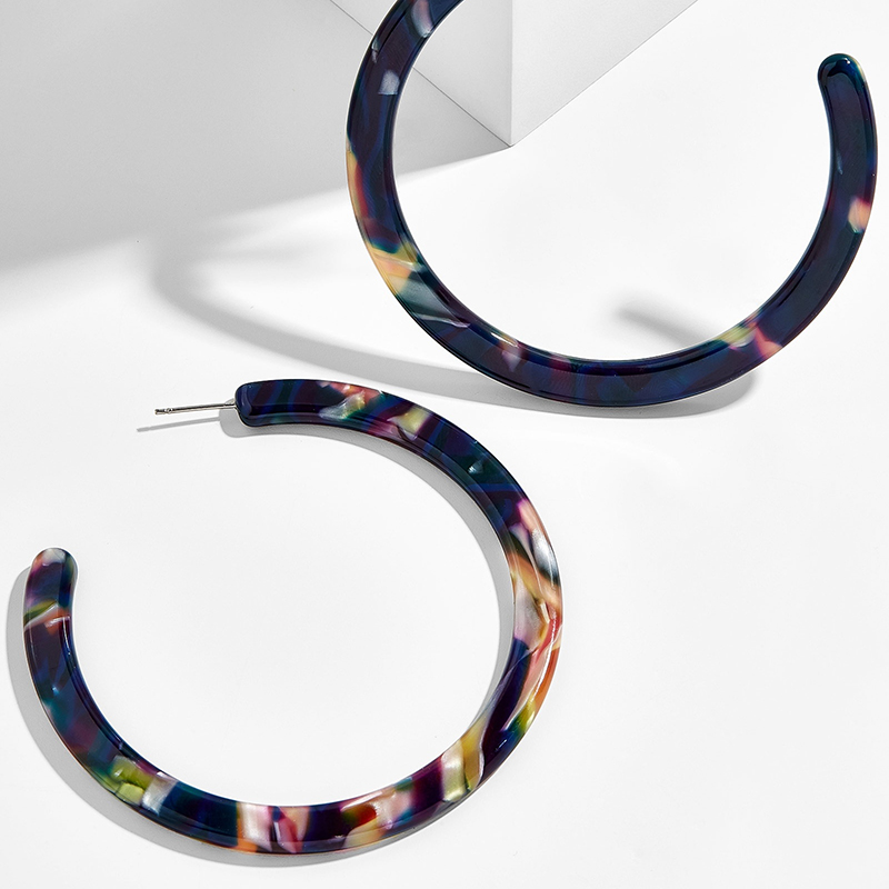 2019 Colorful Acetate Acrylic Circle Hoop Earring For Women Leopard Print Resin Geometric Big Earring Fashion za Jewelry Gift in Hoop Earrings from Jewelry Accessories