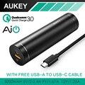 AUKEY Quick Charge 3.0 Mini 5000 mAh Banco De Potência Com AiPower Cilíndrico Adaptativo de Carga Portátil de Bateria Externa para Telefones