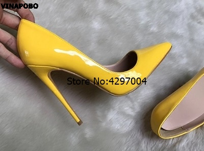 2018 Women Sexy Pointed Toe High Heel Pumps Yellow Heels Female Party Prom Shoes Elegant Office Lady Dress Leather wedding Shoes