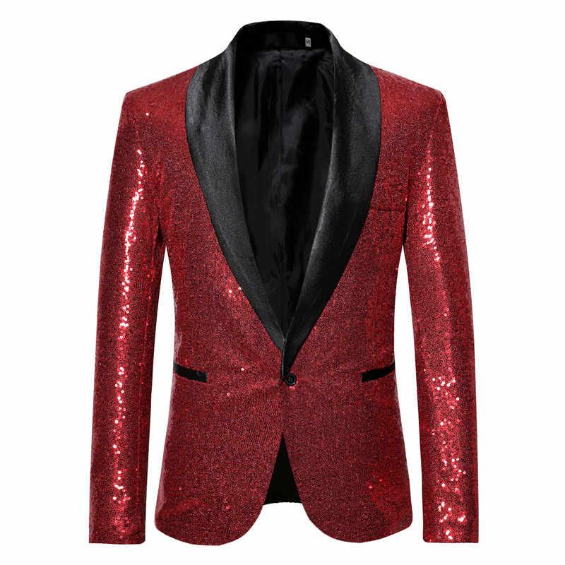 Золотой однобортный шаль нагрудные блесток костюм куртка для мужчин для ночного клуба Выходные туфли на выпускной бал смокинг блейзер