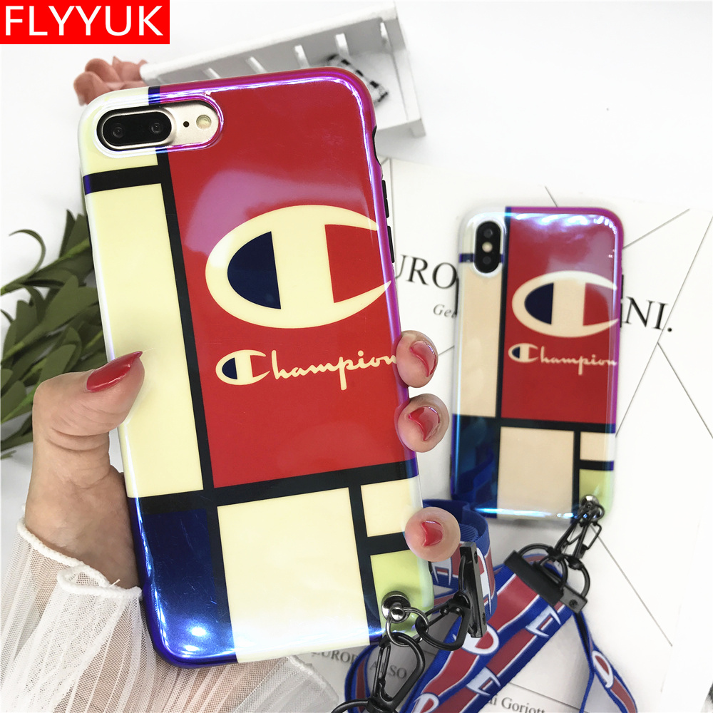 New Fashion Blue Light Champion Case for Iphone 6s 7 8 Plus Case Red Champion Brand Lanyard Glossy Sofr Cover for IPhone X Cases