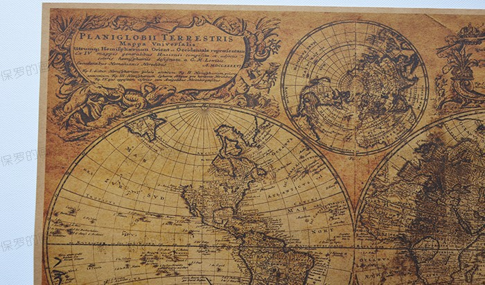 Vintage World Map Ancient Nautical Maps Nostalgia Living Room - World map poster vintage style