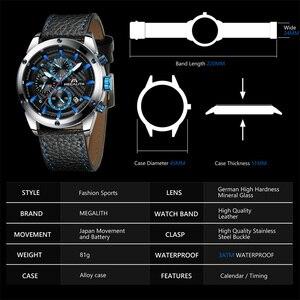 Image 4 - Relogio Masculino MEGALITH Men Watches Top Brand Luxury Watch For Men Waterproof Leather Srtap Quartz Clock 8004 Wholesale Price