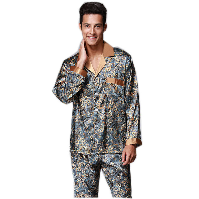 35a21003db 2017 Spring Cool Long Pijamas Masculino Sets Two Piece Mens Silk Satin  Pajamas Hombre XXL Print Sleepwear YT16QTZ073