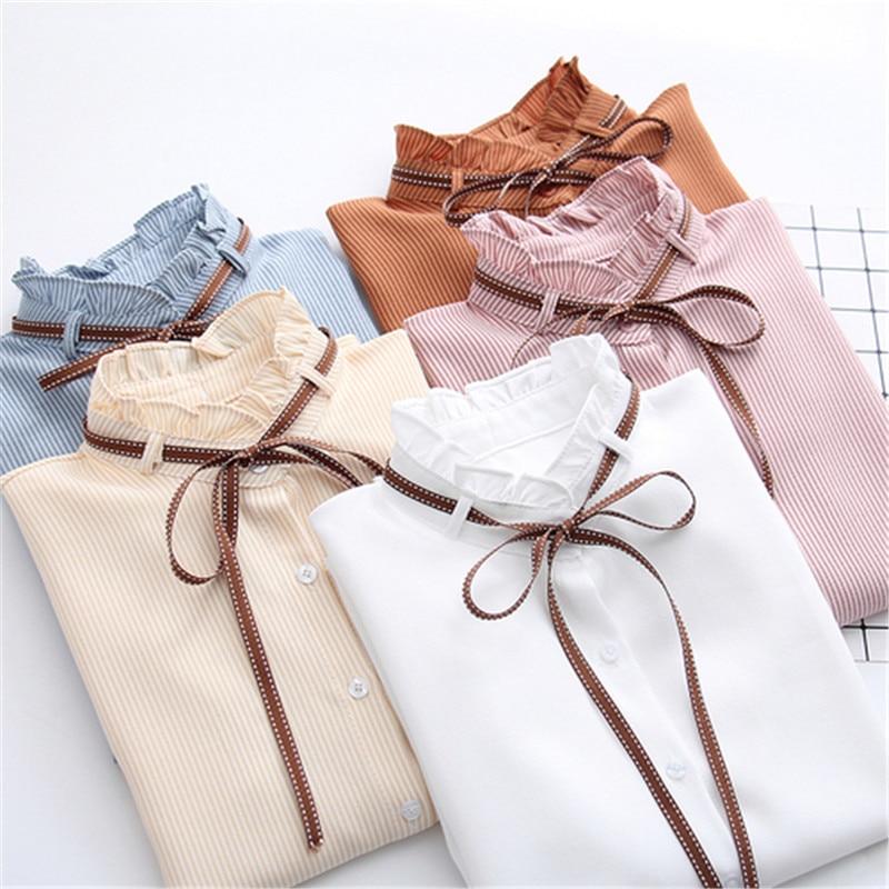2018 New Female Chiffon Blouse Shirt Lady Solid Bow Shirt Loose Stand collar Women Long-Sleeved Shirts Dropshiping
