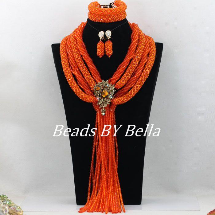 2017 Luxury Orange Crystal African Wedding Beads Jewelry Set Nigerian Bridal Necklace Jewelry Sets New Free Shipping ABF130
