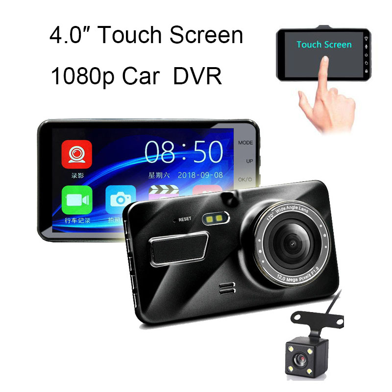 1080P 4 inch Touch Screen Car DVR Dash Camera with Rearview Cam G-sensor HD Night Vision Motion Detection Loop Video Recorder