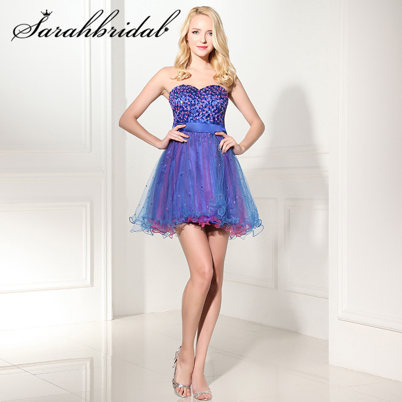 Spring Summer Sexy sleeveless Cocktail Dresses with Strapless Tulle Sequins Beaded Lace up Beading Mini Length