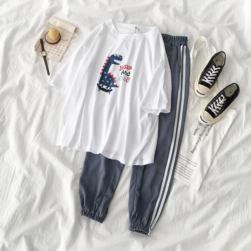 Women Suits] 2019 Women's Summer Carton T Shirt + Fashon Sports Pants