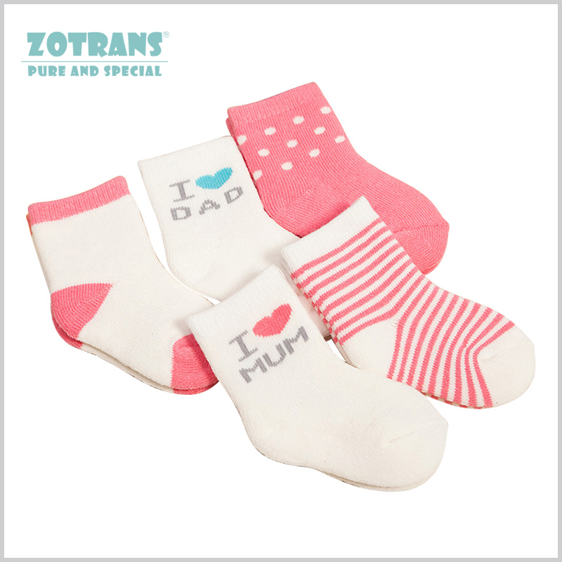 5 Pairs Baby Socks Set Spring Autumn Simple Striped Soft Cotton Socks Kids Pink Blue Girl Boy For 0-3years