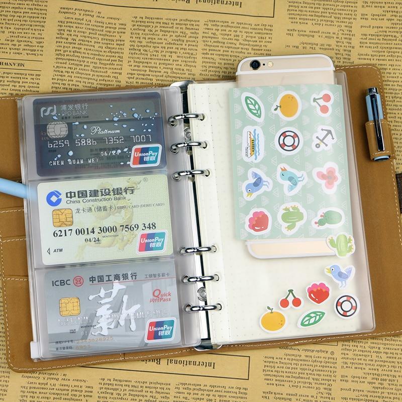A6 Pvc Zipper Pouch Standard 6 Holes Transparent Bag Card Bills Bags Loose Leaf Plastic Card Holder Pockets Storage Organizer