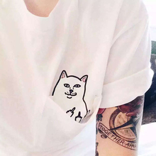 Alien Middle Finger Cat Pocket T Shirt Women Ulzzang Kyliejenner Instagram Tumblr Vegan Unicornio BTS Kpop Tee Top Clothing